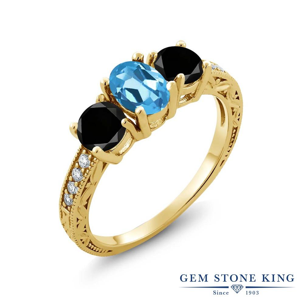 2.02カラット 天然 スイスブルートパーズ ブラックダイヤモンド 指輪 リング レディース シルバー925 イエローゴールド 加工 スリーストーン 天然石 11月 誕生石 プレゼント 女性 彼女 妻 誕生日