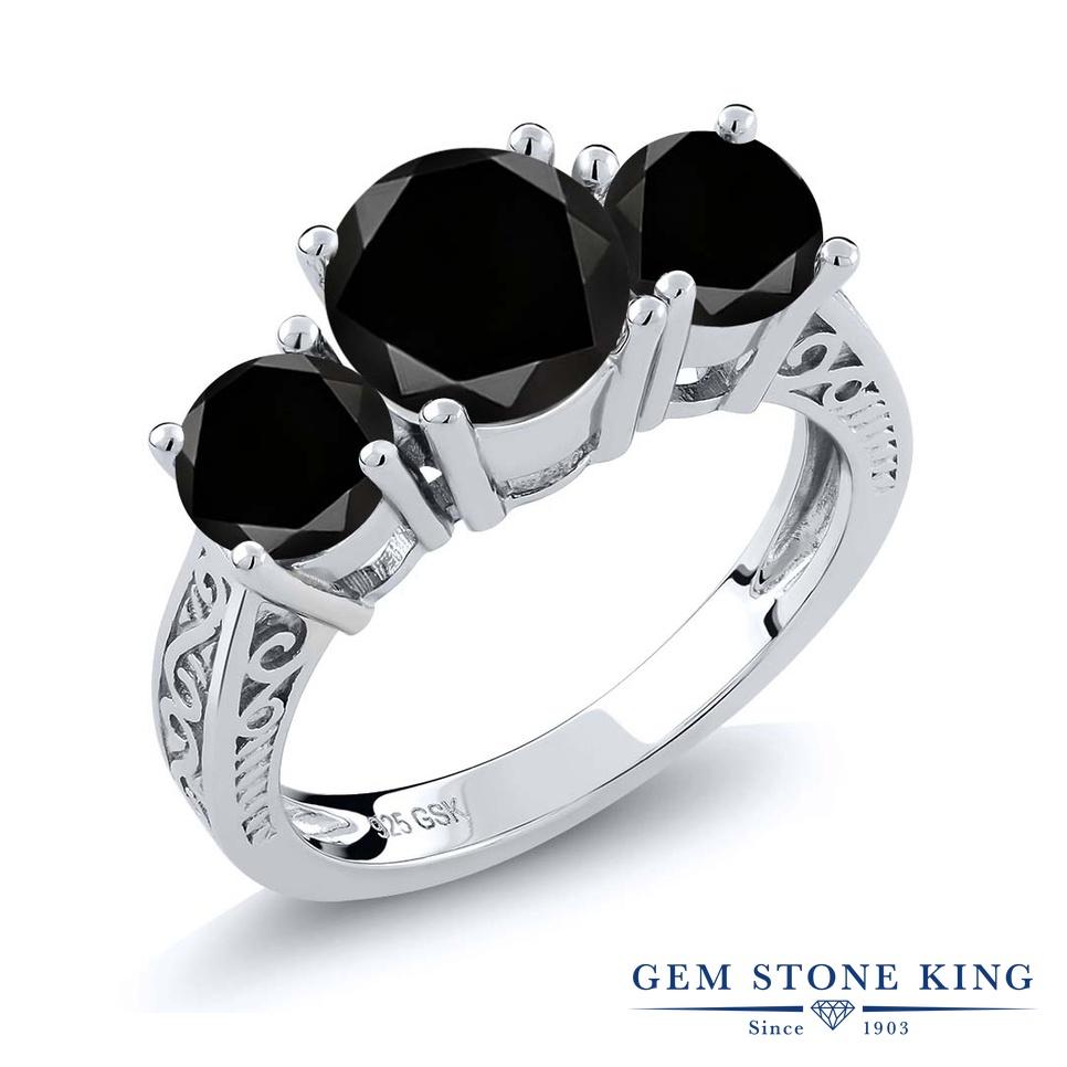 2.45カラット ブラックダイヤモンド 指輪 レディース リング シルバー925 ブランド おしゃれ アラベスク 3連 ブラック ダイヤ 黒 大粒 シンプル スリーストーン 天然石 4月 誕生石 プレゼント 女性 彼女 妻 誕生日