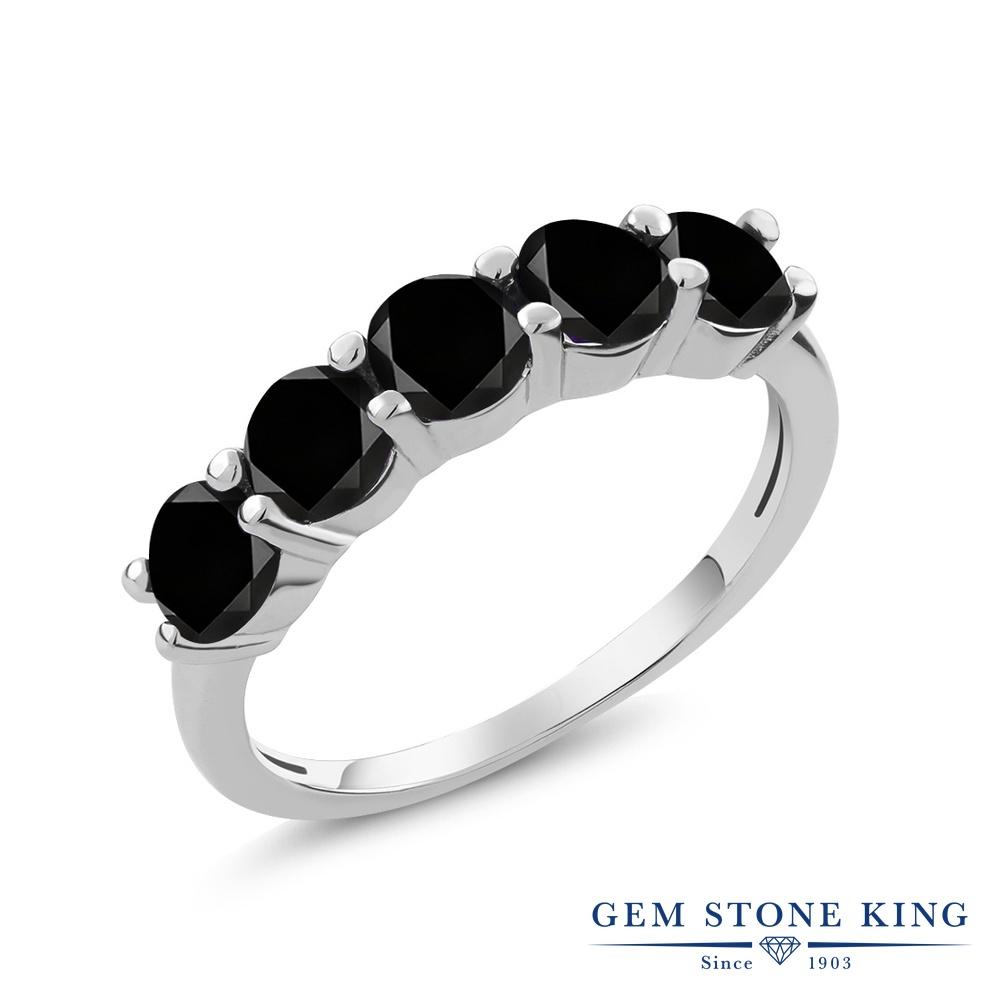 【クーポンで10%OFF】 Gem Stone King 1.35カラット 天然ブラックダイヤモンド シルバー925 指輪 リング レディース ブラック ダイヤ 小粒 ハーフエタニティ 天然石 4月 誕生石 金属アレルギー対応 誕生日プレゼント