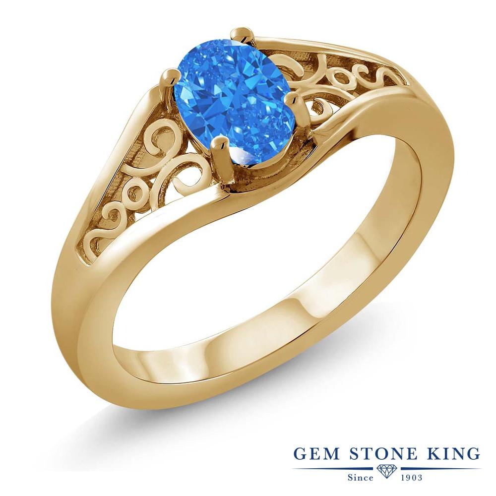 スワロフスキージルコニア (ファンシーブルー) 指輪 レディース リング イエローゴールド 加工 シルバー925 ブランド おしゃれ 一粒 CZ 青 シンプル ソリティア 金属アレルギー対応