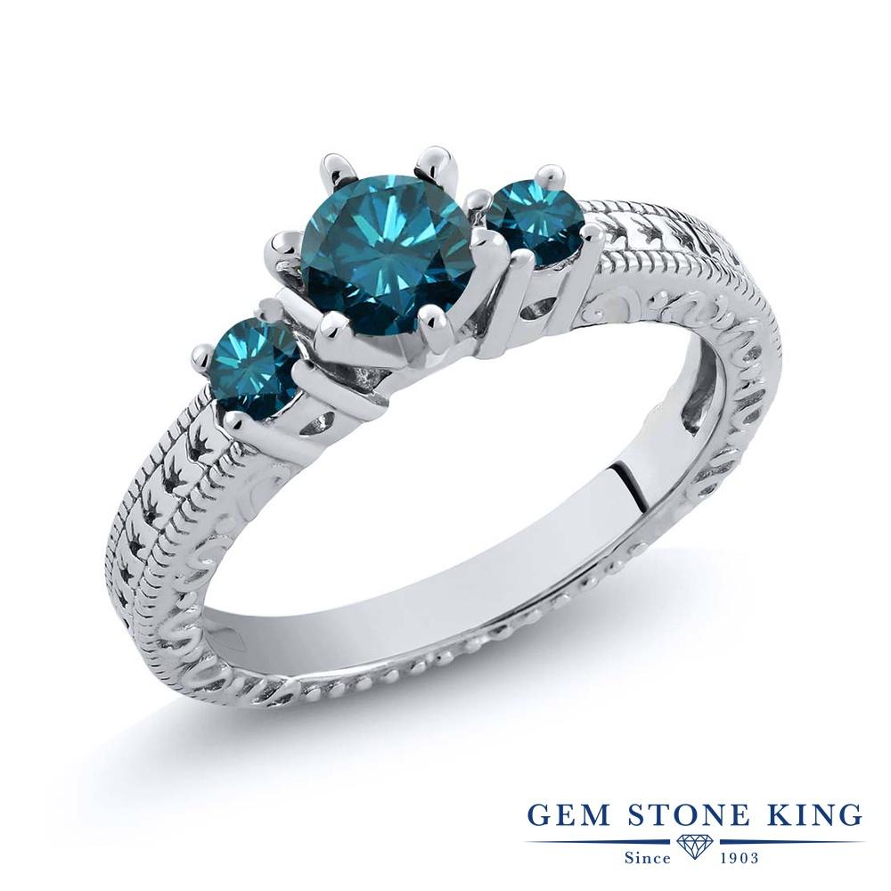 0.79カラット 天然 ブルーダイヤモンド 指輪 レディース リング シルバー925 ブランド おしゃれ アラベスク ブルー ダイヤ 青 シンプル スリーストーン 天然石 4月 誕生石 プレゼント 女性 彼女 妻 誕生日
