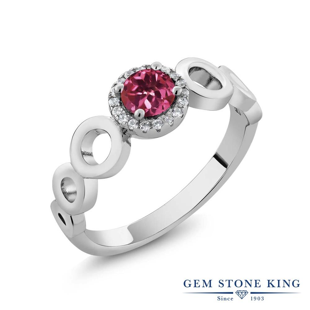 Gem Stone King 0.72カラット 天然 ピンクトルマリン 指輪 リング レディース シルバー925 小粒 天然石 10月 誕生石 金属アレルギー対応