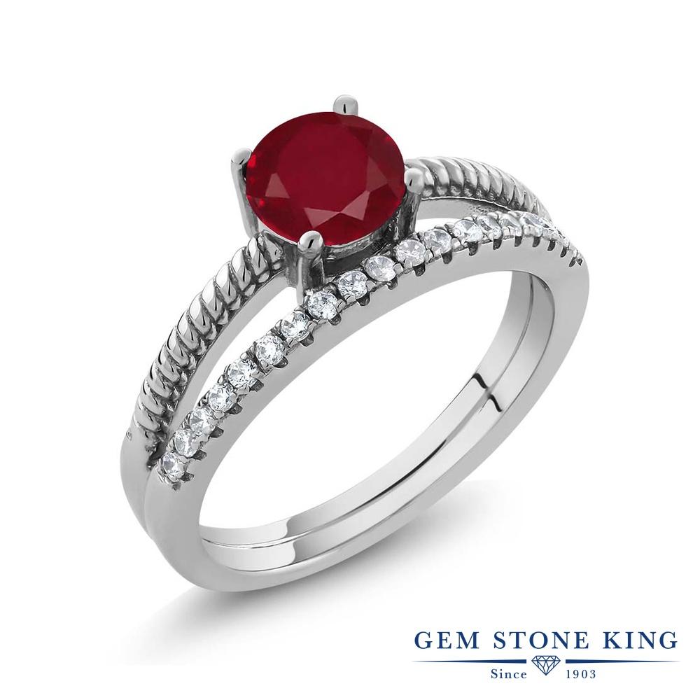 Gem Stone King 1.19カラット 天然 ルビー シルバー925 指輪 リング レディース 大粒 天然石 7月 誕生石 金属アレルギー対応 誕生日プレゼント