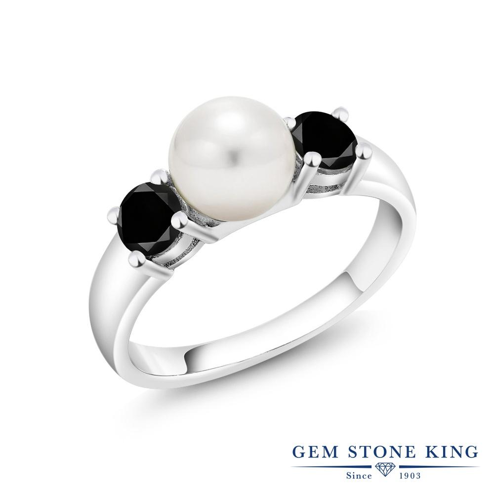 【10%OFF】 Gem Stone King 0.74カラット ブラックダイヤモンド 指輪 リング レディース シルバー925 ブラック ダイヤ 小粒 シンプル スリーストーン 天然石 4月 誕生石 クリスマスプレゼント 女性 彼女 妻 誕生日
