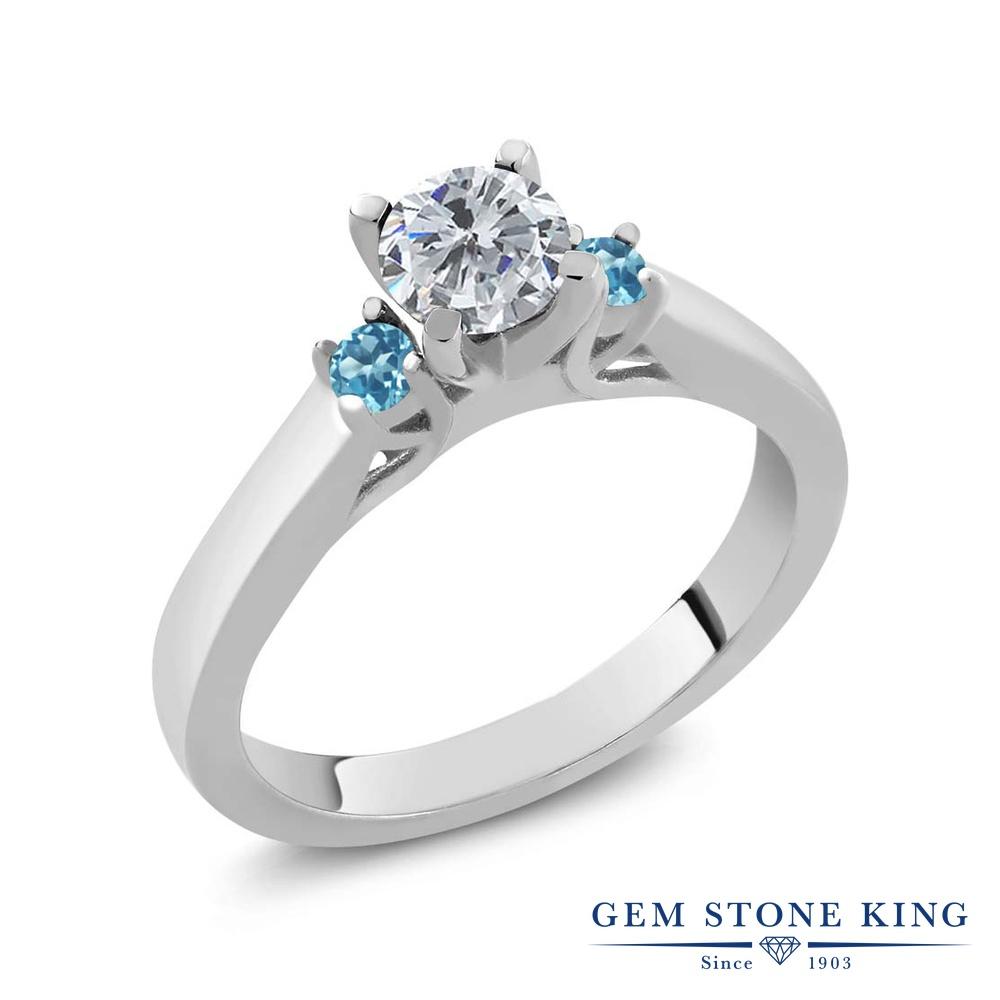 0.66カラット 天然 ダイヤモンド 指輪 レディース リング シミュレイテッド スカイブルートパーズ シルバー925 ブランド おしゃれ スリーストーン ダイヤ 小粒 シンプル 天然石 4月 誕生石 プレゼント 女性 彼女 妻 誕生日