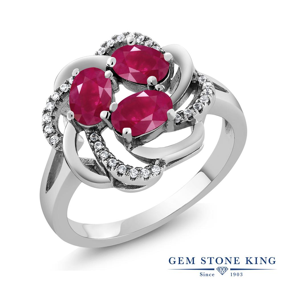 Gem Stone King 2.17カラット 天然 ルビー シルバー925 指輪 リング レディース フラワー スリーストーン 天然石 7月 誕生石 金属アレルギー対応 誕生日プレゼント