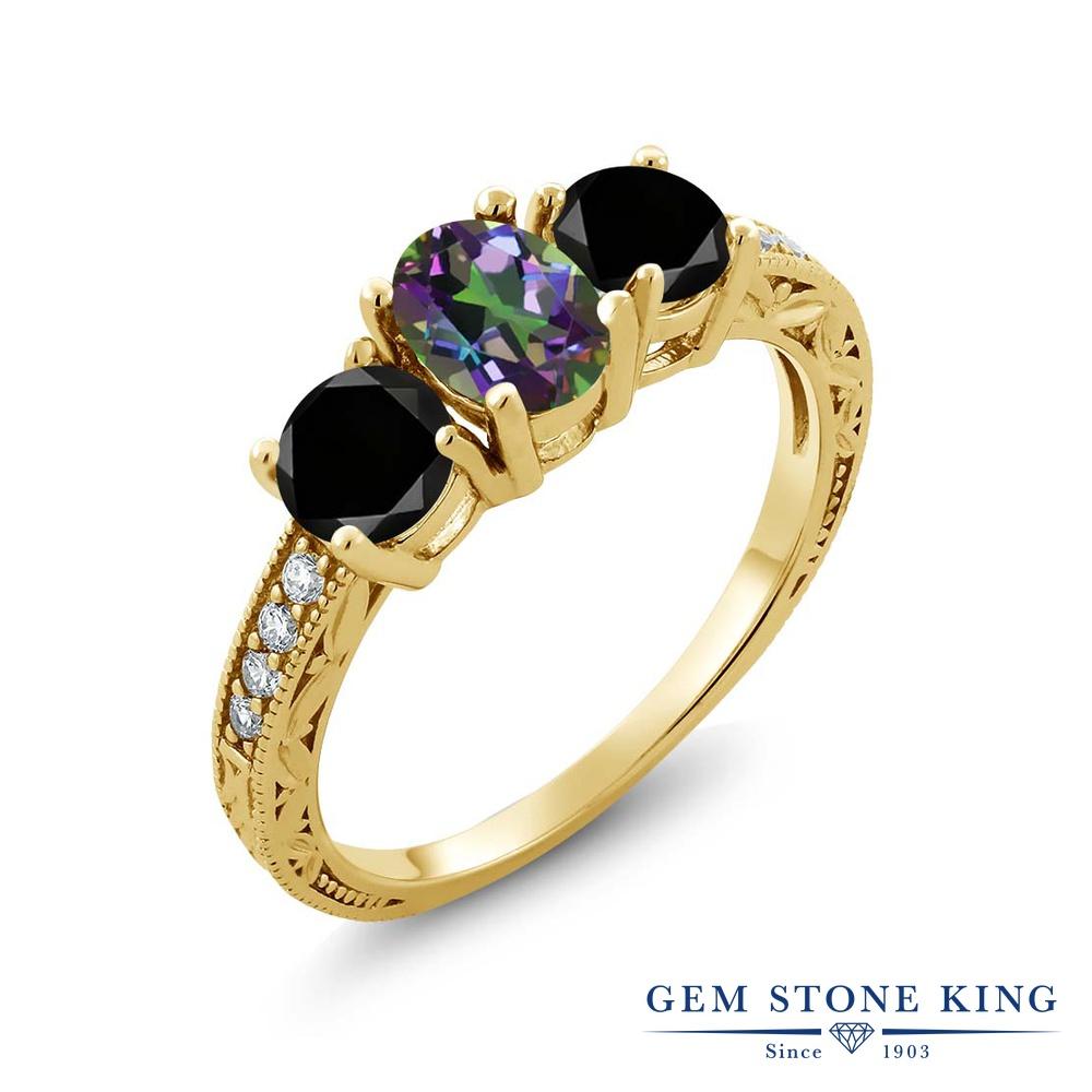 2.02カラット 天然石 ミスティックトパーズ (グリーン) ブラックダイヤモンド 指輪 リング レディース シルバー925 イエローゴールド 加工 スリーストーン プレゼント 女性 彼女 妻 誕生日