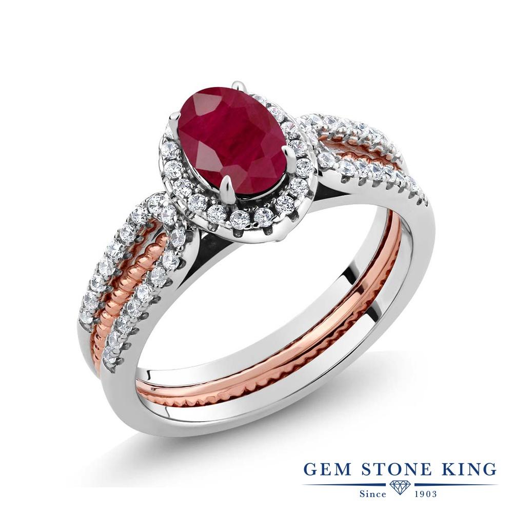 【10%OFF】 Gem Stone King 1.64カラット 天然 ルビー 指輪 リング レディース シルバー925 大粒 スタッキング 天然石 7月 誕生石 結婚指輪 ウェディングバンド