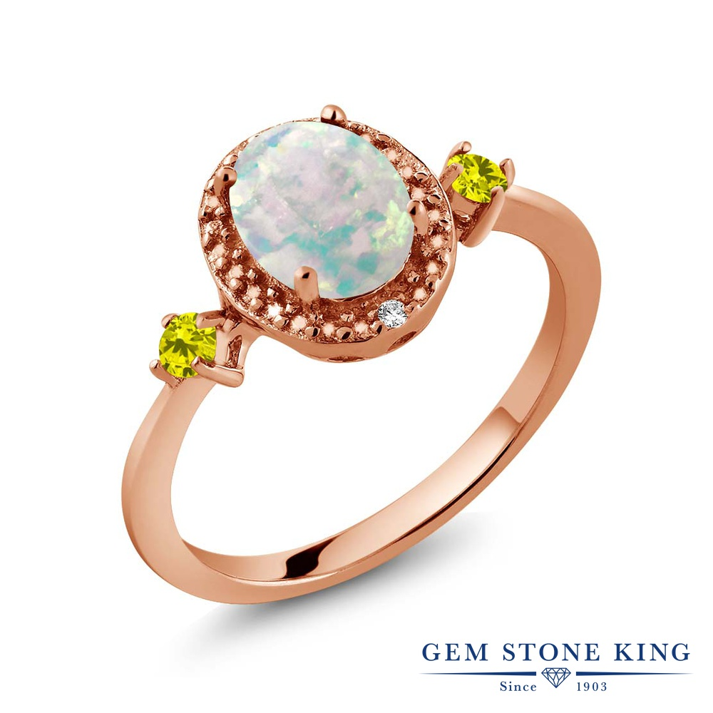 Gem Stone King 1.19カラット シミュレイテッド ホワイトオパール 天然 イエローダイヤモンド シルバー925 ピンクゴールドコーティング 指輪 リング レディース 大粒 ヘイロー 10月 誕生石 金属アレルギー対応 誕生日プレゼント