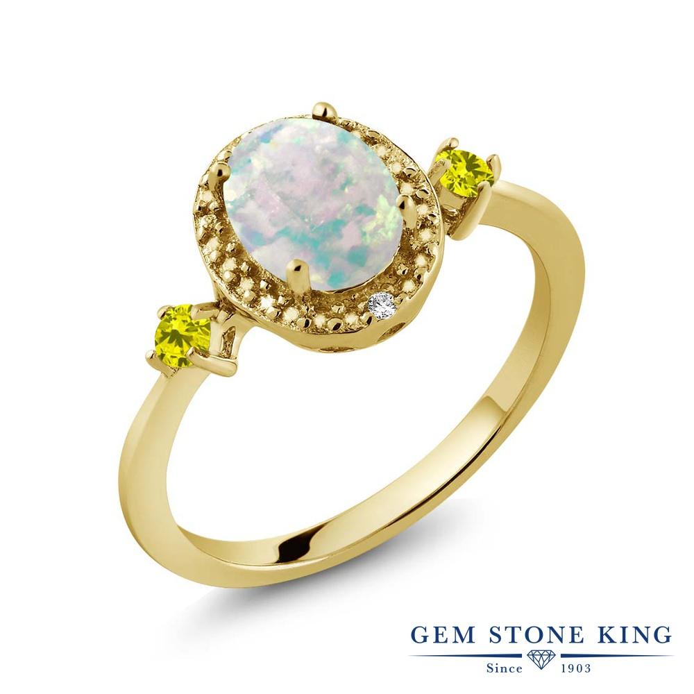 Gem Stone King 1.19カラット シミュレイテッド ホワイトオパール 天然 イエローダイヤモンド シルバー925 イエローゴールドコーティング 指輪 リング レディース 大粒 ヘイロー 10月 誕生石 金属アレルギー対応 誕生日プレゼント