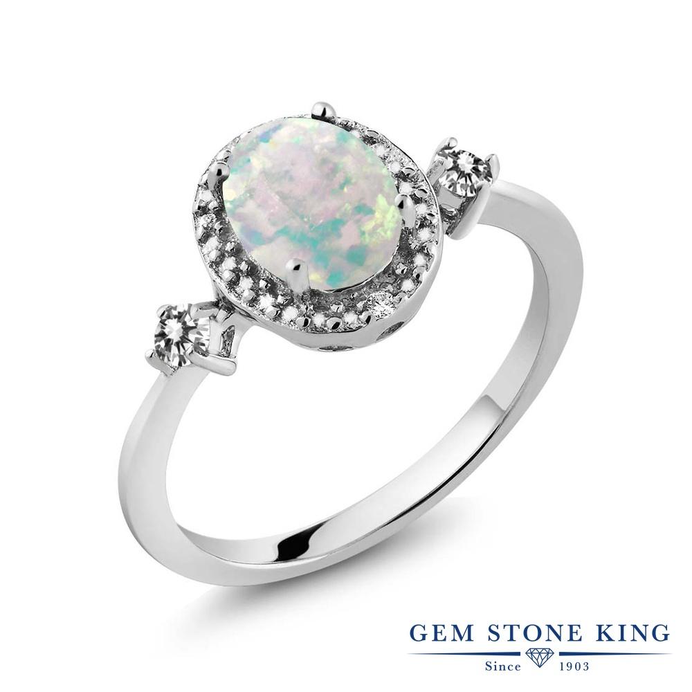 Gem Stone King 1.19カラット シミュレイテッド ホワイトオパール 天然 ダイヤモンド シルバー925 指輪 リング レディース 大粒 ヘイロー 10月 誕生石 金属アレルギー対応 誕生日プレゼント