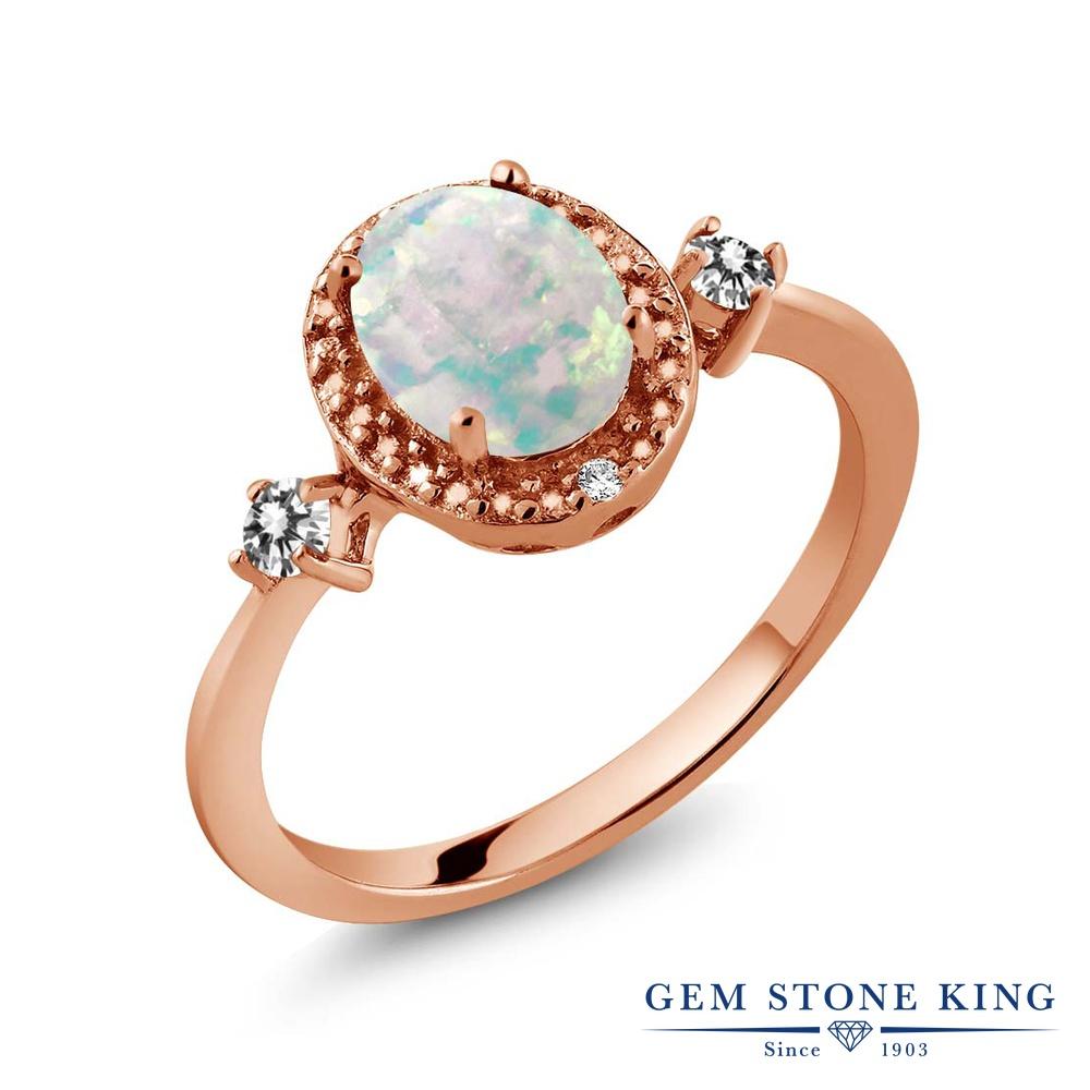 Gem Stone King 1.19カラット シミュレイテッド ホワイトオパール 天然 ダイヤモンド シルバー925 ピンクゴールドコーティング 指輪 リング レディース 大粒 ヘイロー 10月 誕生石 金属アレルギー対応 誕生日プレゼント