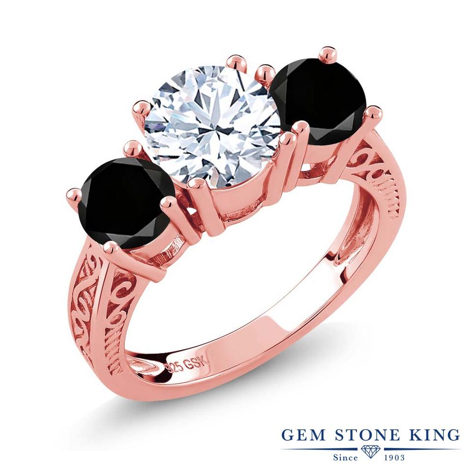 Gem Stone King 2.5カラット 天然 トパーズ (無色透明) 天然ブラックダイヤモンド シルバー925 ピンクゴールドコーティング 指輪 リング レディース 大粒 スリーストーン シンプル 天然石 11月 誕生石 金属アレルギー対応 誕生日プレゼント