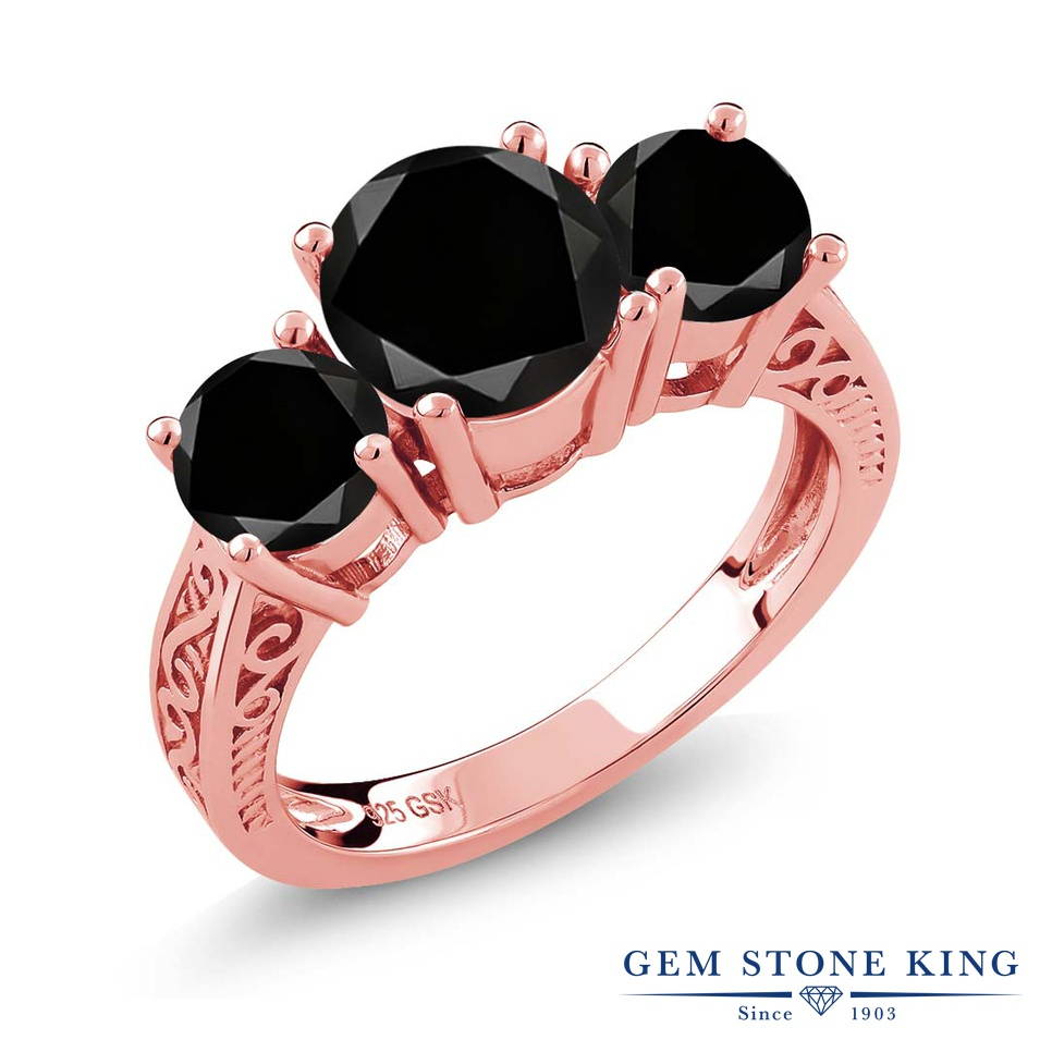 2.45カラット ブラックダイヤモンド 指輪 レディース リング ピンクゴールド 加工 シルバー925 ブランド おしゃれ アラベスク 3連 ブラック ダイヤ 黒 大粒 シンプル スリーストーン 天然石 4月 誕生石 プレゼント 女性 彼女 妻 誕生日