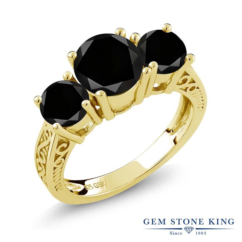 2.45カラット ブラックダイヤモンド 指輪 レディース リング イエローゴールド 加工 シルバー925 ブランド おしゃれ アラベスク 3連 ブラック ダイヤ 黒 大粒 シンプル スリーストーン 天然石 4月 誕生石 プレゼント 女性 彼女 妻 誕生日