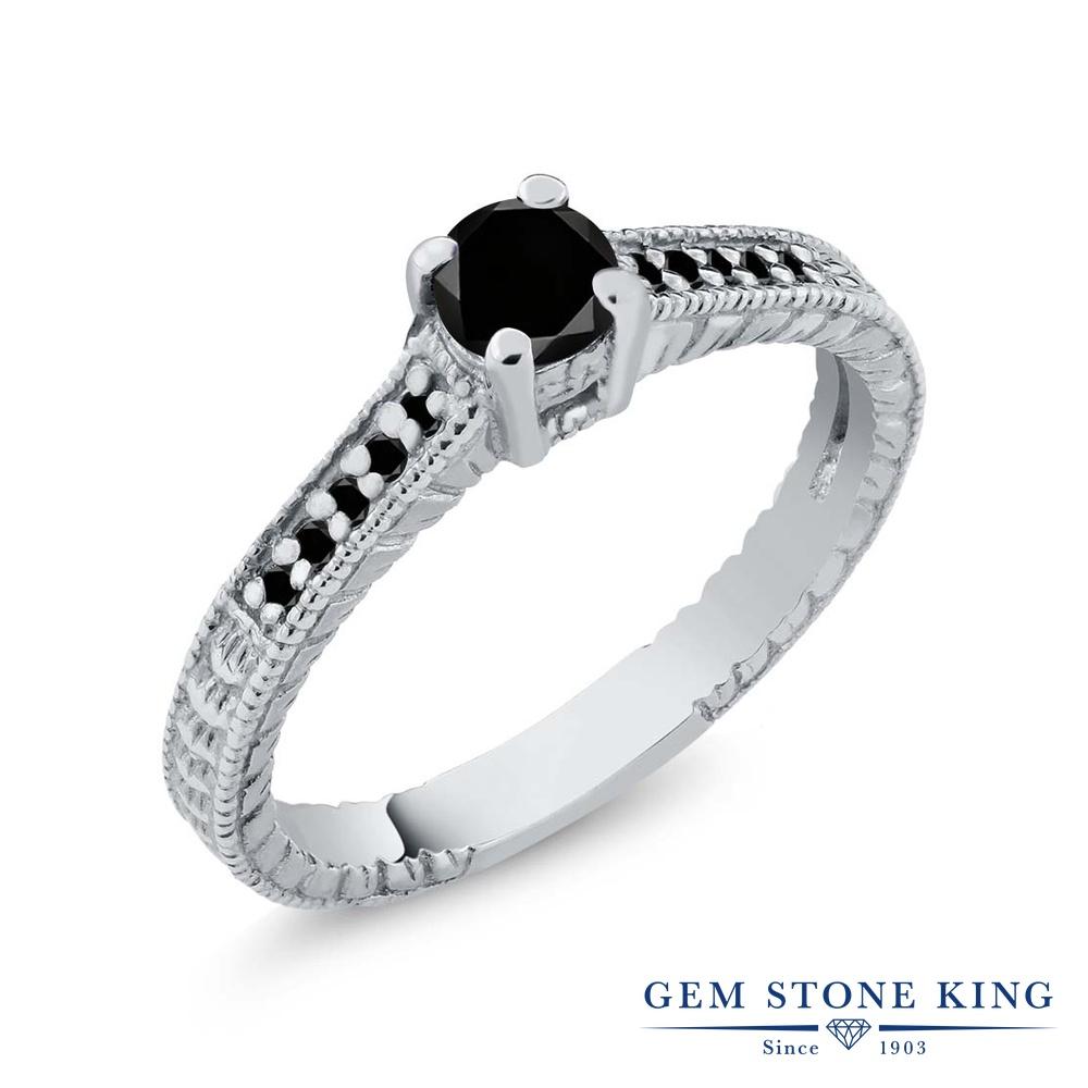 0.34カラット ブラックダイヤモンド 指輪 レディース リング シルバー925 ブランド おしゃれ 細工 ブラック ダイヤ 黒 小粒 マルチストーン 華奢 細身 天然石 4月 誕生石 婚約指輪 エンゲージリング