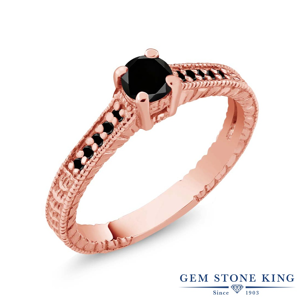 0.34カラット ブラックダイヤモンド 指輪 レディース リング ピンクゴールド 加工 シルバー925 ブランド おしゃれ 細工 ブラック ダイヤ 黒 小粒 マルチストーン 華奢 細身 天然石 4月 誕生石 婚約指輪 エンゲージリング