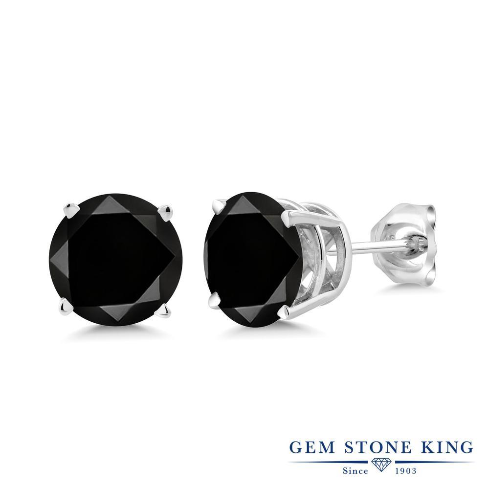 2.2カラット ブラックダイヤモンド ピアス レディース シルバー925 ブランド おしゃれ 一粒 ブラック ダイヤ 黒 大粒 シンプル スタッド 天然石 4月 誕生石 金属アレルギー対応