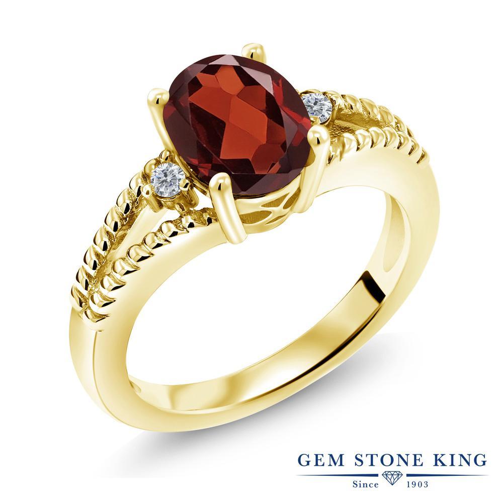 2.05カラット 天然 ガーネット 指輪 レディース リング ダイヤモンド イエローゴールド 加工 シルバー925 ブランド おしゃれ ミル打ち ダブルライン 赤 大粒 シンプル ソリティア 天然石 1月 誕生石 金属アレルギー対応