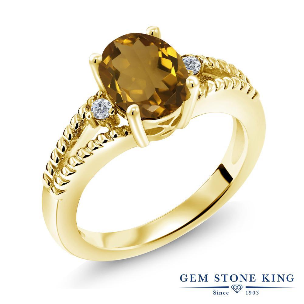 1.45カラット 天然石 ウィスキークォーツ 天然 ダイヤモンド 指輪 リング レディース シルバー925 イエローゴールド 加工 大粒 シンプル ソリティア 金属アレルギー対応