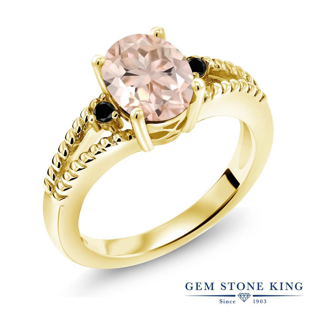 Gem Stone King 1.65カラット 天然 モルガナイト (ピーチ) 天然ブラックダイヤモンド シルバー925 イエローゴールドコーティング 指輪 リング レディース 大粒 シンプル ソリティア 天然石 3月 誕生石 金属アレルギー対応 誕生日プレゼント