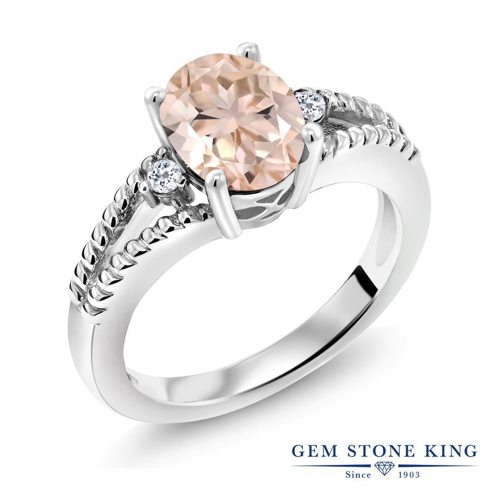 Gem Stone King 1.65カラット 天然 モルガナイト (ピーチ) 天然 トパーズ (無色透明) シルバー925 指輪 リング レディース 大粒 シンプル ソリティア 天然石 3月 誕生石 金属アレルギー対応 誕生日プレゼント