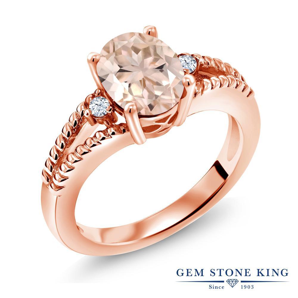 Gem Stone King 1.67カラット 天然 モルガナイト (ピーチ) シルバー925 ピンクゴールドコーティング 指輪 リング レディース 大粒 シンプル ソリティア 天然石 3月 誕生石 金属アレルギー対応 誕生日プレゼント