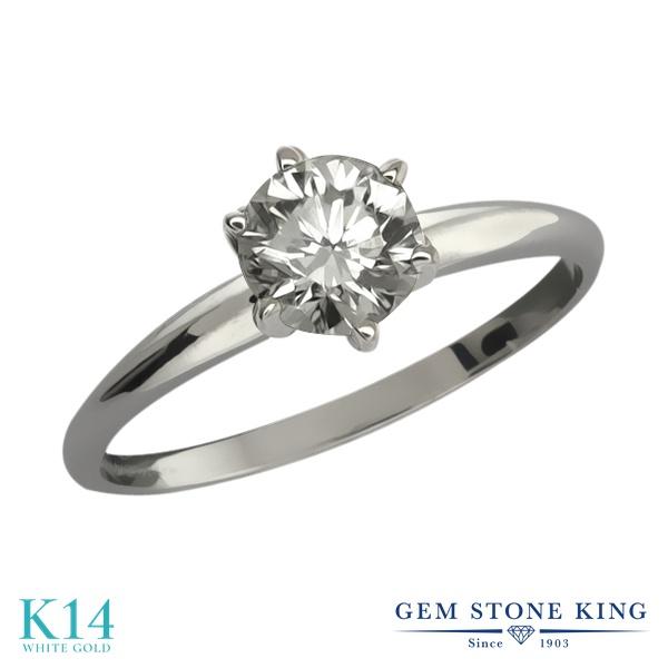 【クーポンで10%OFF】 Gem Stone King 0.4カラット 天然 ダイヤモンド 14金 ホワイトゴールド(K14) 指輪 リング レディース ダイヤ 小粒 一粒 シンプル ソリティア 天然石 4月 誕生石 金属アレルギー対応 婚約指輪 エンゲージリング