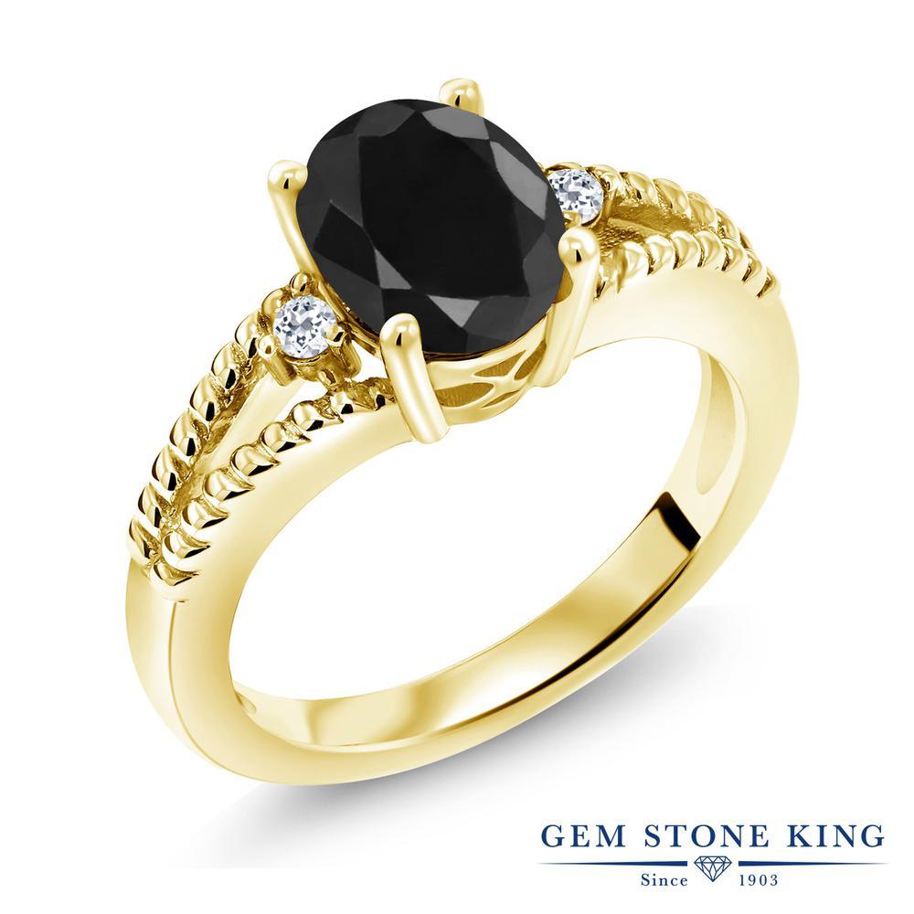 Gem Stone King 2.59カラット 天然サファイア(ブラック) 天然トパーズ(無色透明) シルバー 925 イエローゴールドコーティング 指輪 リング レディース 大粒 シンプル ソリティア 天然石 誕生石 金属アレルギー対応 誕生日プレゼント