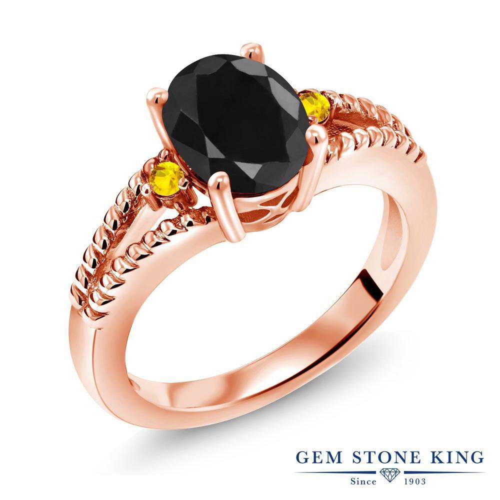 Gem Stone King 2.6カラット 天然サファイア(ブラック) サファイア(イエロー) シルバー 925 ローズゴールドコーティング 指輪 リング レディース 大粒 シンプル ソリティア 天然石 誕生石 金属アレルギー対応 誕生日プレゼント