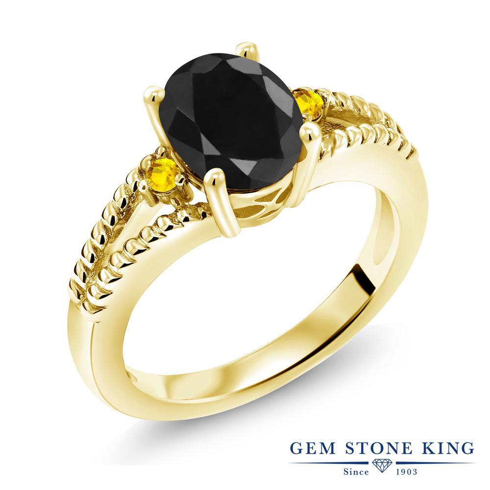 Gem Stone King 2.6カラット 天然サファイア(ブラック) サファイア(イエロー) シルバー 925 イエローゴールドコーティング 指輪 リング レディース 大粒 シンプル ソリティア 天然石 誕生石 金属アレルギー対応 誕生日プレゼント
