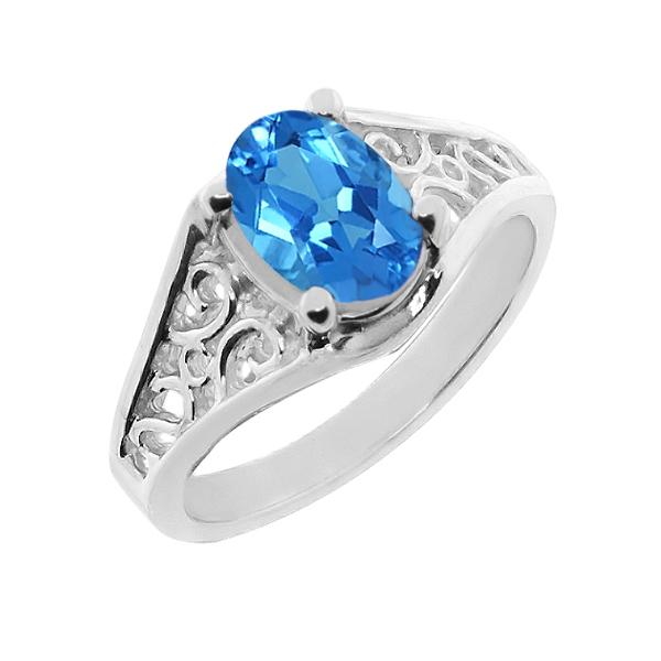 【クーポンで10%OFF】 Gem Stone King 2.2カラット 14金 ホワイトゴールド(K14) 指輪 リング レディース 一粒 シンプル ソリティア 天然石 11月 誕生石 金属アレルギー対応 誕生日プレゼント