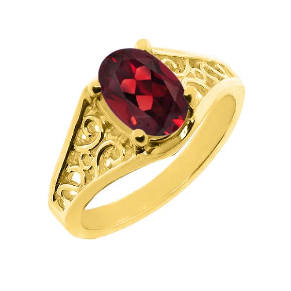【クーポンで10%OFF】 Gem Stone King 2.2カラット 14金 イエローゴールド(K14) 指輪 リング レディース 一粒 シンプル ソリティア 天然石 1月 誕生石 金属アレルギー対応 誕生日プレゼント