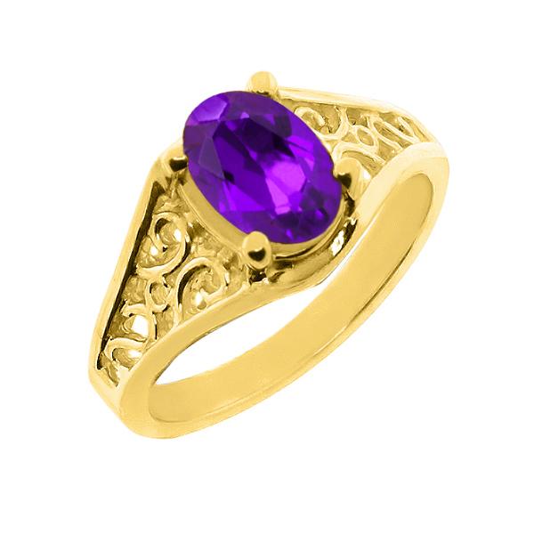 【クーポンで10%OFF】 Gem Stone King 1.6カラット 14金 イエローゴールド(K14) 指輪 リング レディース 一粒 シンプル ソリティア 天然石 2月 誕生石 金属アレルギー対応 誕生日プレゼント