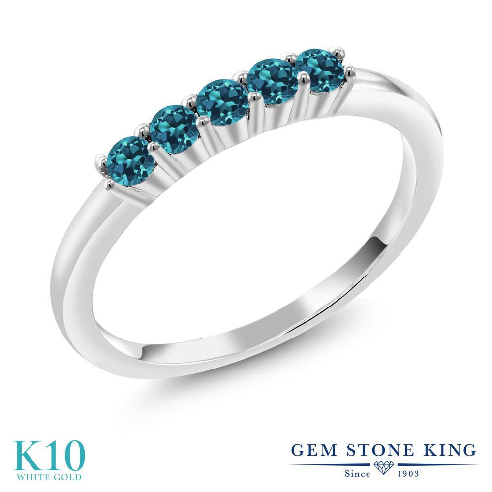 Gem Stone King 0.65カラット 天然 ロンドンブルートパーズ 10金 ホワイトゴールド(K10) 指輪 リング レディース 小粒 バンド 天然石 11月 誕生石 金属アレルギー対応 結婚指輪 ウェディングバンド
