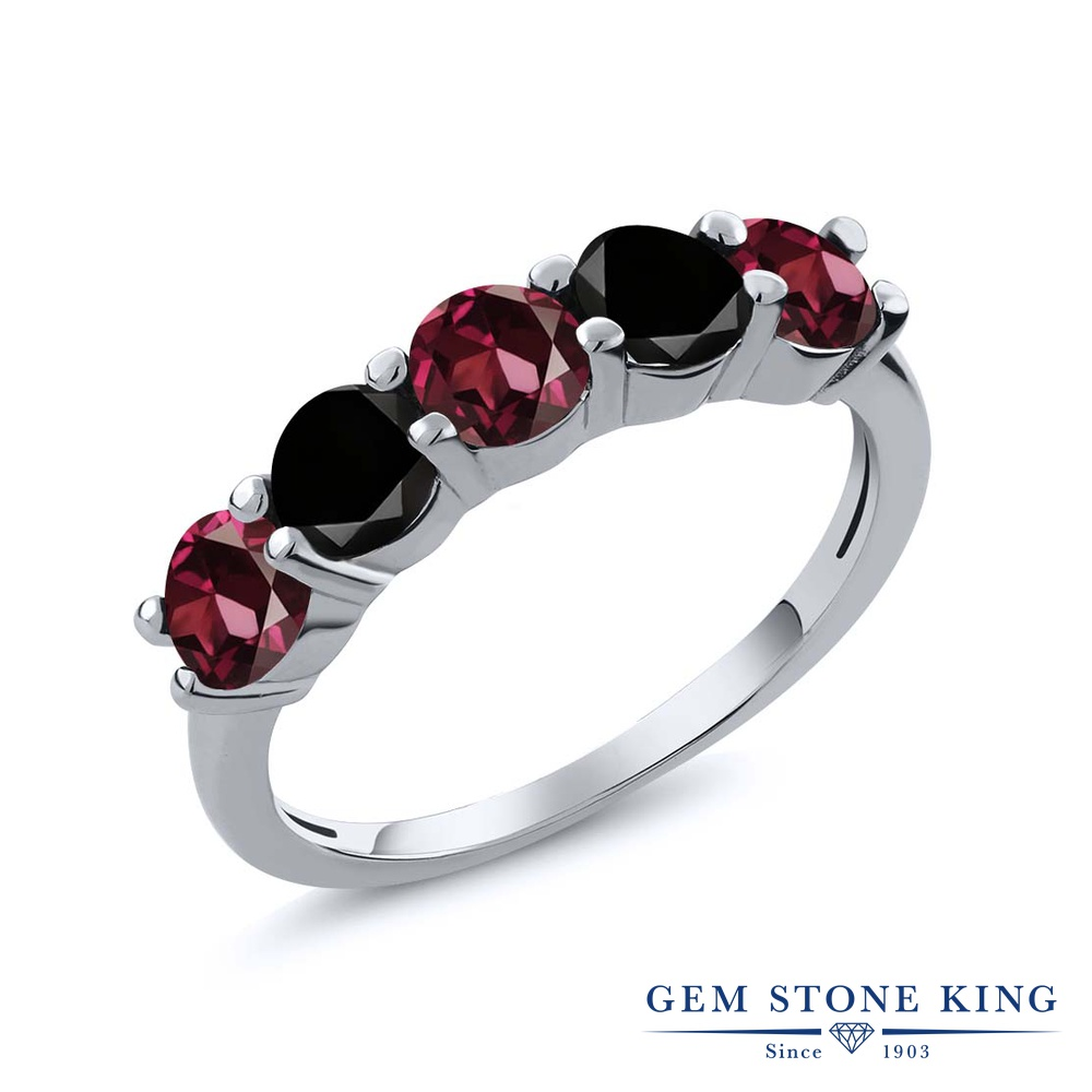 Gem Stone King 1カラット 天然 ロードライトガーネット 天然ブラックダイヤモンド シルバー925 指輪 リング レディース 小粒 ハーフエタニティ 天然石 金属アレルギー対応 結婚指輪 ウェディングバンド