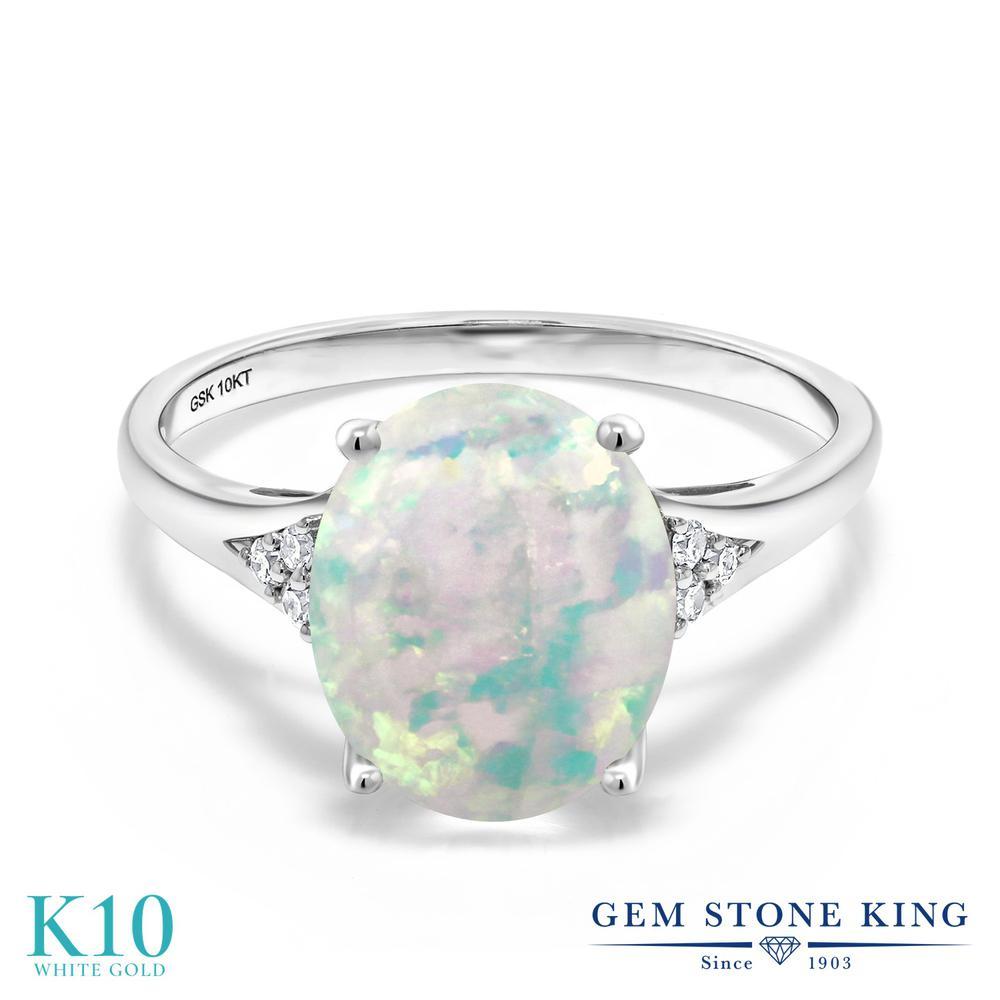 2.07カラット シミュレイテッド ホワイトオパール 指輪 レディース リング 天然 ダイヤモンド 10金 ホワイトゴールド K10 ブランド おしゃれ オーバル 白 大粒 細身 大ぶり 大きめ ソリティア 10月 誕生石 婚約指輪 エンゲージリング