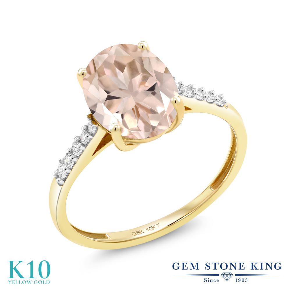 【クーポンで10%OFF】 Gem Stone King 2.82カラット 天然 モルガナイト (ピーチ) 天然 ダイヤモンド 10金 イエローゴールド(K10) 指輪 リング レディース 大粒 マルチストーン 天然石 3月 誕生石 金属アレルギー対応 誕生日プレゼント