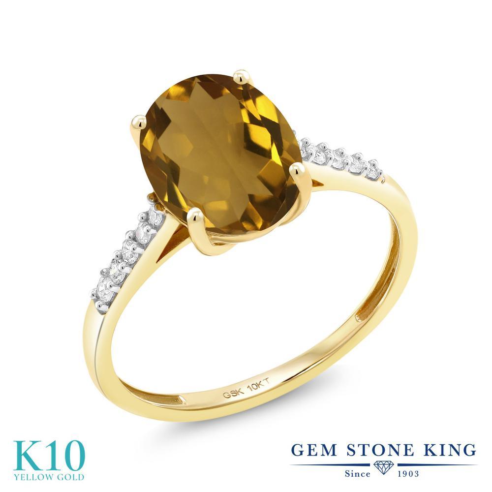 Gem Stone King 2.12カラット 天然石 ウィスキークォーツ 天然 ダイヤモンド 10金 イエローゴールド(K10) 指輪 リング レディース 大粒 マルチストーン 天然石 金属アレルギー対応 誕生日プレゼント