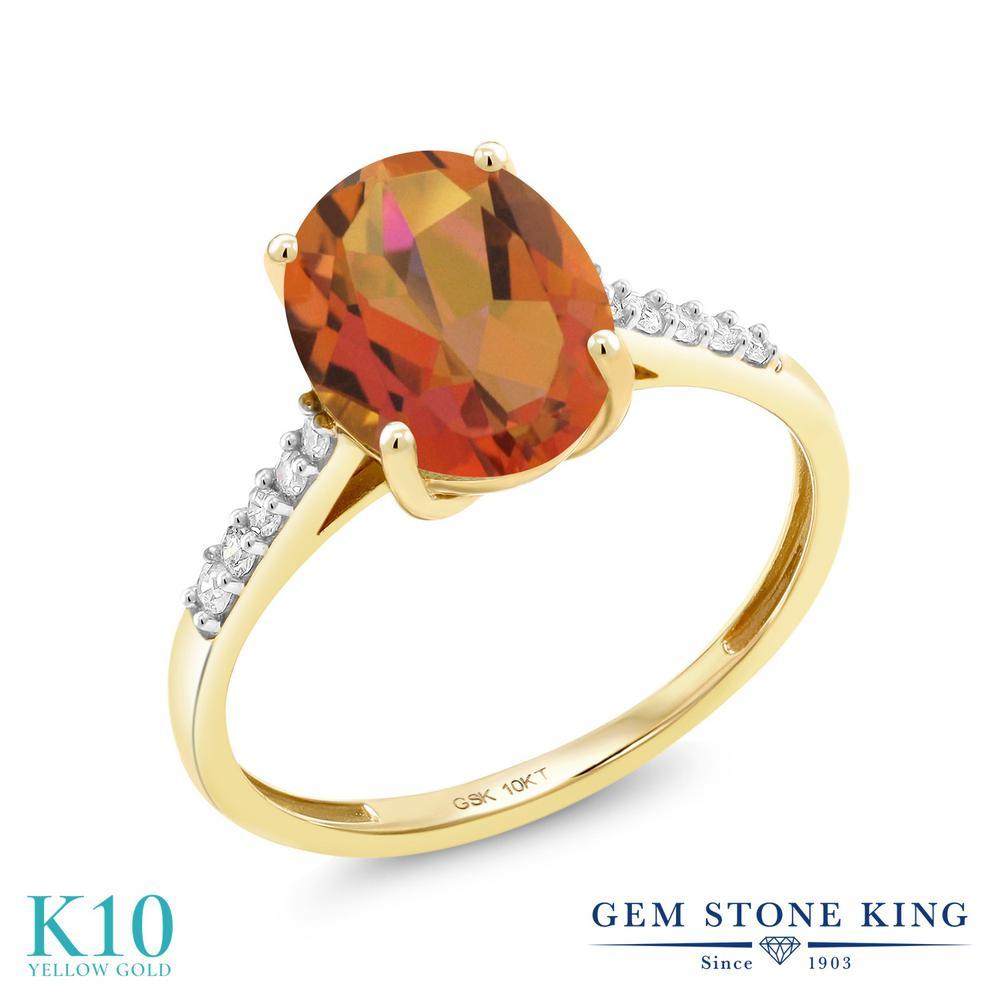Gem Stone King 2.82カラット 天然 ミスティッククォーツ (トワイライトオレンジ) 天然 ダイヤモンド 10金 イエローゴールド(K10) 指輪 リング レディース 大粒 マルチストーン 天然石 金属アレルギー対応 誕生日プレゼント