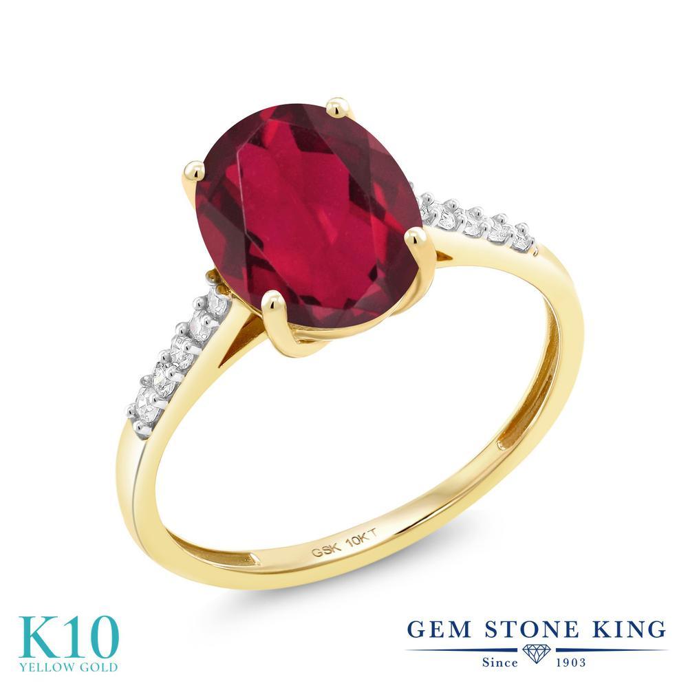 Gem Stone King 2.82カラット 天然 ミスティッククォーツ (ルビーレッド) 天然 ダイヤモンド 10金 イエローゴールド(K10) 指輪 リング レディース 大粒 マルチストーン 天然石 金属アレルギー対応 誕生日プレゼント