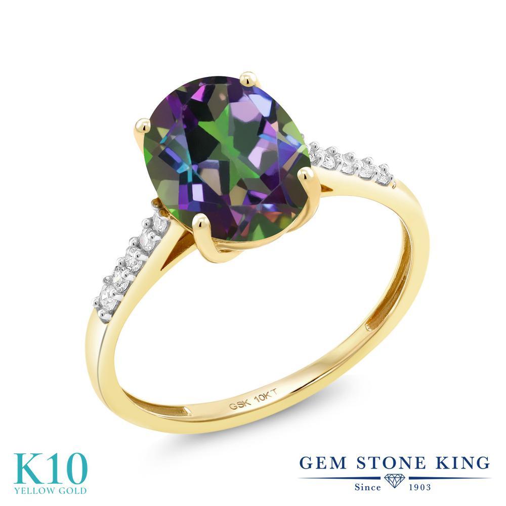 Gem Stone King 2.82カラット 天然石 ミスティッククォーツ (グリーン) 天然 ダイヤモンド 10金 イエローゴールド(K10) 指輪 リング レディース 大粒 マルチストーン 天然石 金属アレルギー対応 誕生日プレゼント