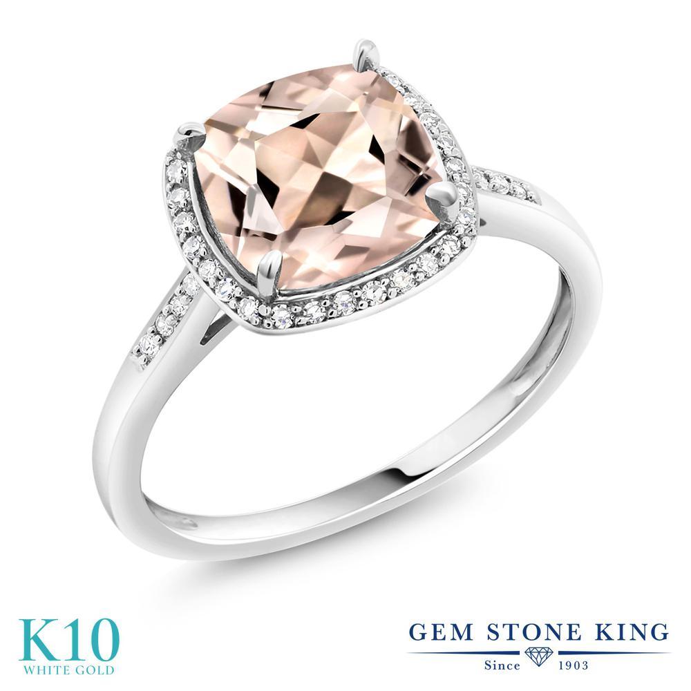 【クーポンで10%OFF】 Gem Stone King 1.88カラット 天然 モルガナイト (ピーチ) 天然 ダイヤモンド 10金 ホワイトゴールド(K10) 指輪 リング レディース 大粒 ヘイロー 天然石 3月 誕生石 金属アレルギー対応 誕生日プレゼント