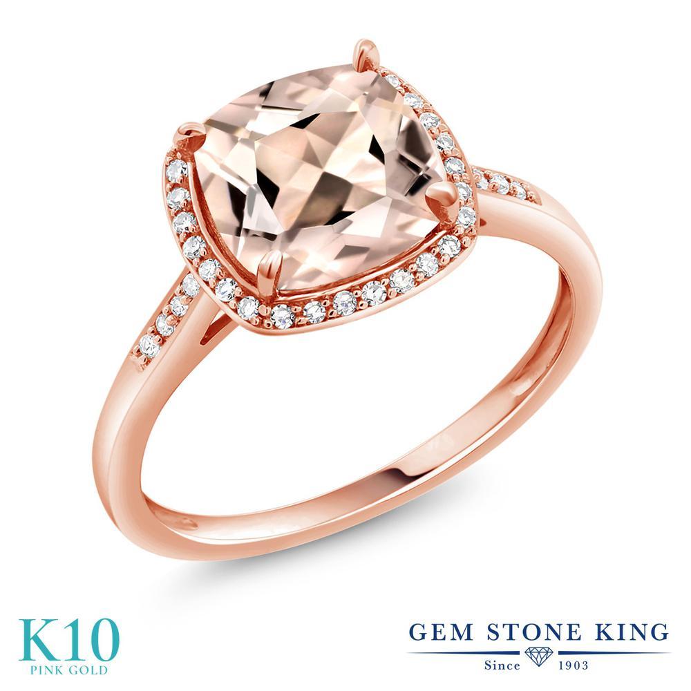【クーポンで10%OFF】 Gem Stone King 1.88カラット 天然 モルガナイト (ピーチ) 天然 ダイヤモンド 10金 ピンクゴールド(K10) 指輪 リング レディース 大粒 ヘイロー 天然石 3月 誕生石 金属アレルギー対応 誕生日プレゼント