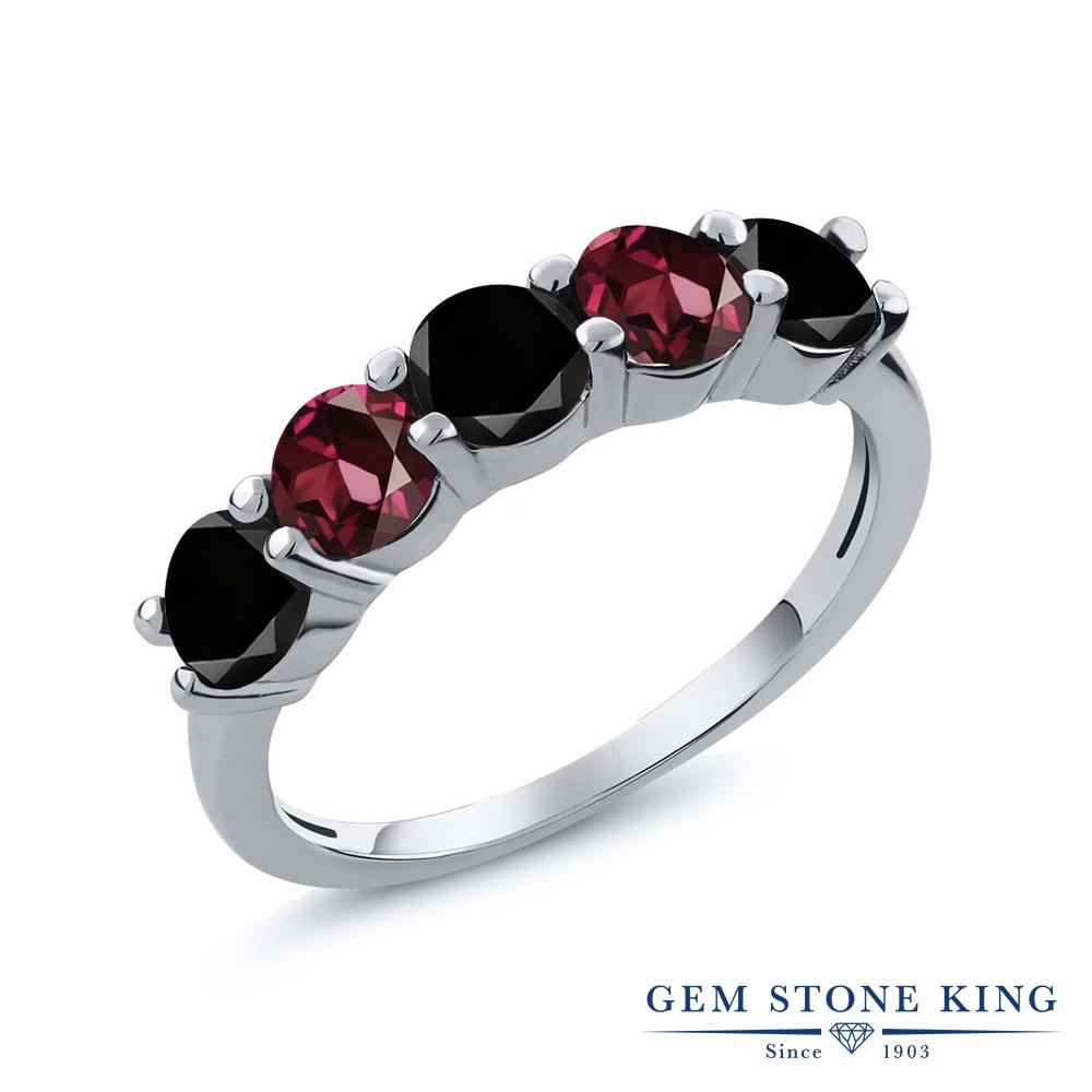 【10%OFF】 Gem Stone King 0.95カラット ブラックダイヤモンド 天然 ロードライトガーネット 指輪 リング レディース シルバー925 ブラック ダイヤ 小粒 ハーフエタニティ 天然石 4月 誕生石 結婚指輪 ウェディングバンド