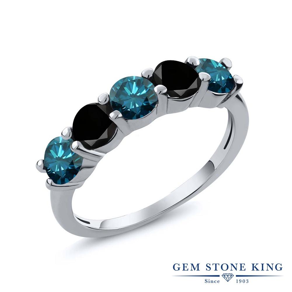 【クーポンで10%OFF】 Gem Stone King 0.79カラット 天然 ブルーダイヤモンド シルバー925 指輪 リング レディース ブルー ダイヤ 小粒 ハーフエタニティ 天然石 4月 誕生石 金属アレルギー対応 結婚指輪 ウェディングバンド