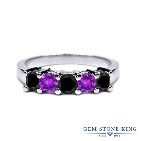 Gem Stone King 0.96カラット 天然ブラックダイヤモンド 天然 アメジスト シルバー925 指輪 リング レディース ブラック ダイヤ 小粒 ハーフエタニティ 天然石 4月 誕生石 金属アレルギー対応 結婚指輪 ウェディングバンド