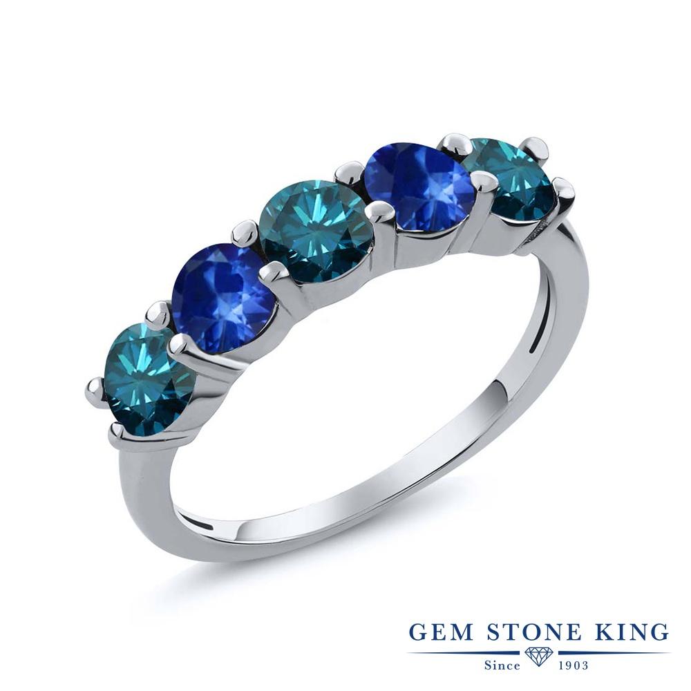 0.93カラット 天然 ブルーダイヤモンド サファイア 指輪 リング レディース シルバー925 ブルー ダイヤ 小粒 ハーフエタニティ 天然石 4月 誕生石 結婚指輪 ウェディングバンド