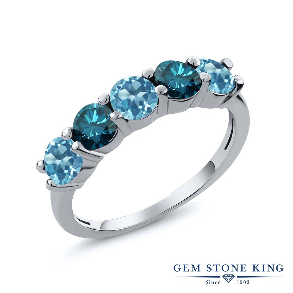Gem Stone King 0.9カラット 天然 スイスブルートパーズ 天然 ブルーダイヤモンド シルバー925 指輪 リング レディース 小粒 ハーフエタニティ 天然石 11月 誕生石 金属アレルギー対応 結婚指輪 ウェディングバンド