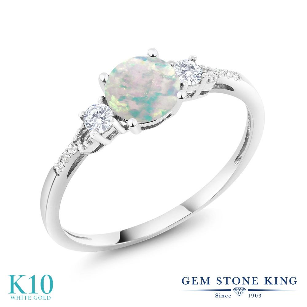 Gem Stone King 0.45カラット シミュレイテッド ホワイトオパール 合成ホワイトサファイア (ダイヤのような無色透明) 天然 ダイヤモンド 10金 ホワイトゴールド(K10) 指輪 リング レディース 小粒 マルチストーン 10月 誕生石 金属アレルギー対応 誕生日プレゼント